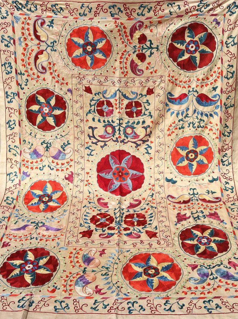 Uzbek handmade embroidery suzani. Bedspread
