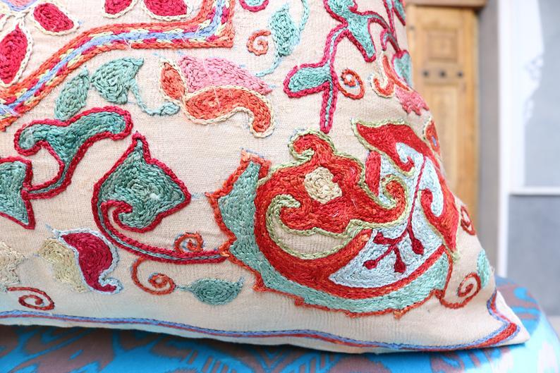 Uzbek hand made silk on silk suzani pillow case