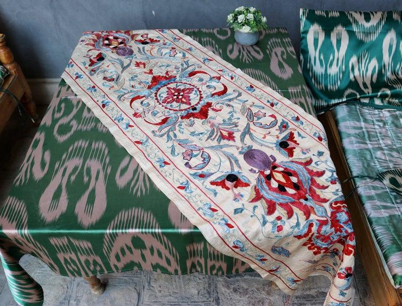 Uzbek handmade embroidery suzani. Wall hanging