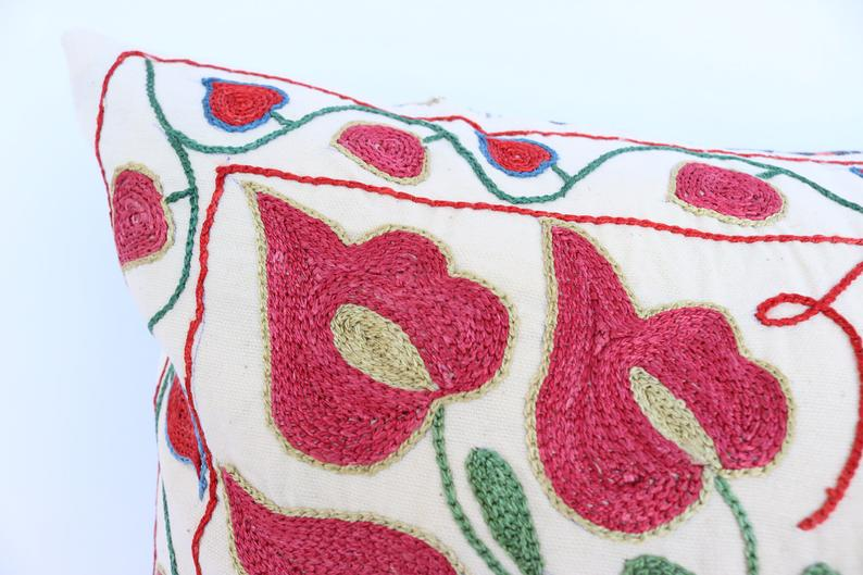 Uzbek hand made silk on cotton suzani pillow case