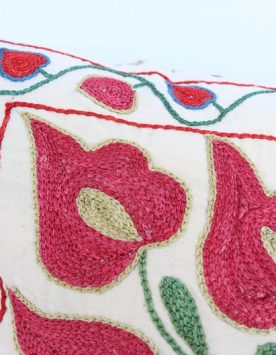Uzbek hand made silk on cotton suzani pillow case
